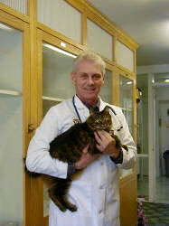 Dr. Paul Wade holding a cat